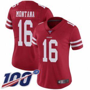Women 49ers Joe Montana 100th Season Jersey (4)